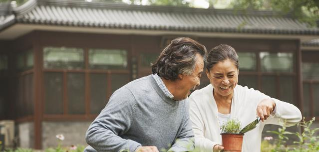 Couple gardening together outside